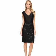 NWT Adrianna Papell Black Solid Top Lace Skirt Dress Sz 6 - $49.00