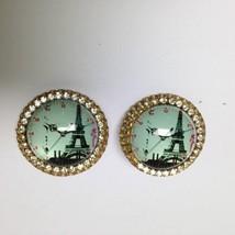 Vintage, Rare 1950s Star, Gold Tone, Paris Landmark Clip Earrings - $6.60