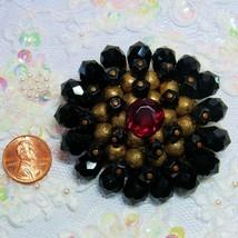 Old Vintage Faceted Czech Czechoslovakia Black Red Glass Goldtone Brooch... - $26.71