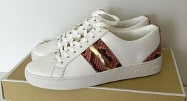 Neuf Michael Kors Catelyn Rayure Lacet Nappa PU Sneakers Taille 5.5 Blanc / - $102.58