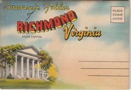Richmond Virginia VA Fold Out Souvenir Folder Linen Colourpicture - $4.95