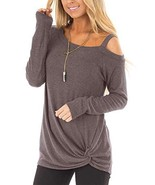 AELSON Women Cold Shoulder Long Sleeve Shirts Front Twist Knot Casual Tu... - $23.60