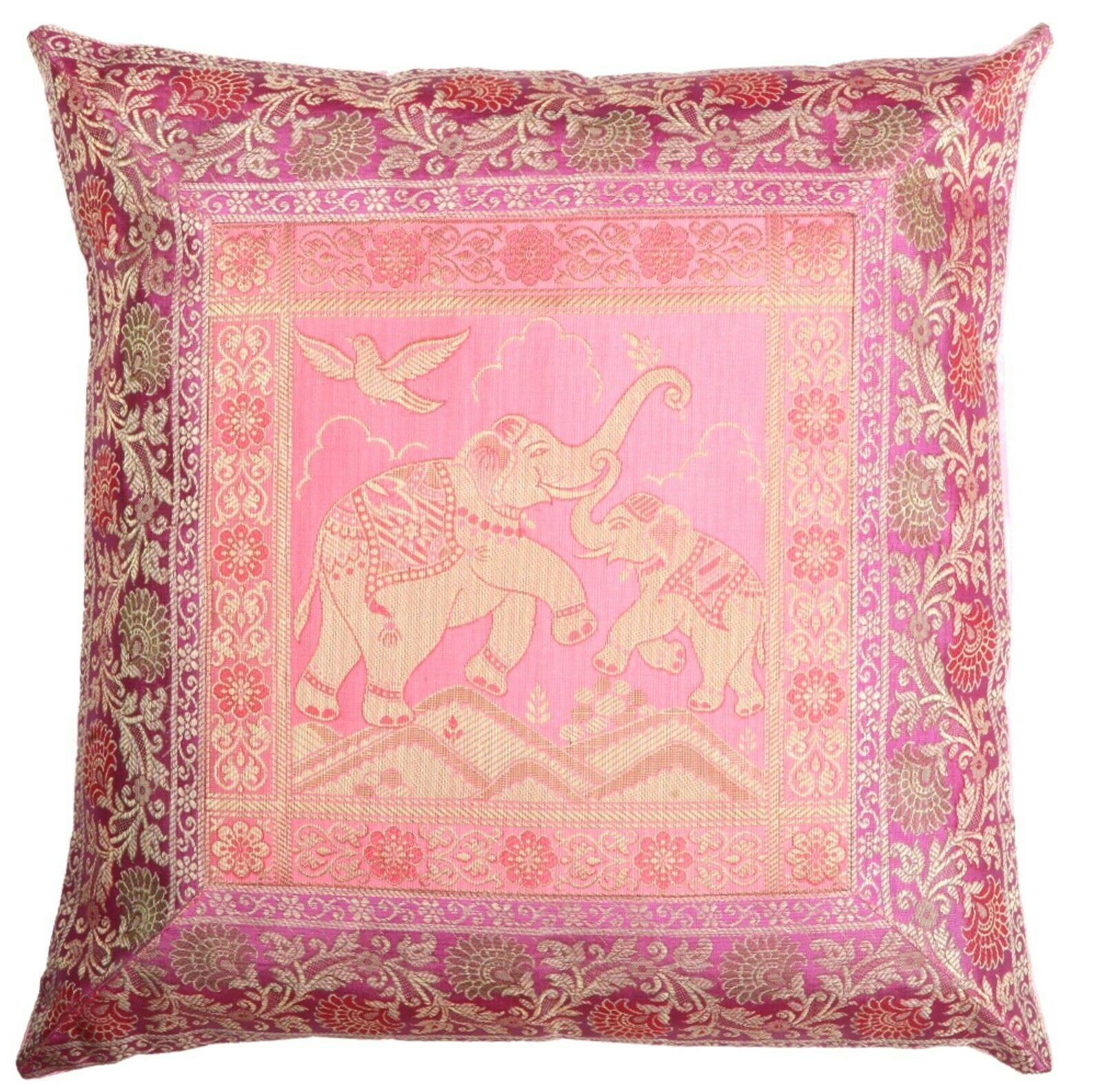 "Primary image for 16"" Traditional Indian Brocade Elephant Design Cushion/Pillow Cover Pink"