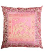 "16"" Traditional Indian Brocade Elephant Design Cushion/Pillow Cover Pink - $9.89"