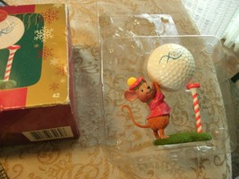 20#5   Carlton Cards In the Swing Golfing Mouse Christmas Eve Flyer Orna... - $5.44