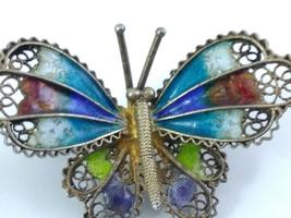 Butterfly Brooch 800 Vermeil Filigree Enamel image 7