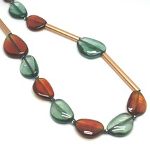 """ROSE NECKLACE AMBER GREEN ROUNDED DROPS OF MURANO GLASS TUBE ALTERNATE 50cm 20"""" image 2"""