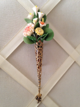 Vintage Capodimonte Flower Bouquet Victorian Brass Filigree Cone Fashion Brooch - $65.00