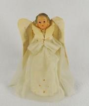 """Mid Century  Angel Tree Topper Rubber Head Flocked Wings Net Gown 7"""" Tal... - $34.60"""