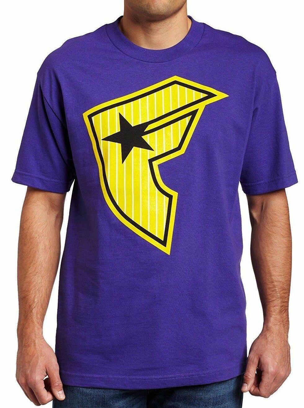 Famous Stars & Straps Viola Giallo Classico da Uomo Righe Fare. T-Shirt S Nwt
