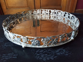 Silver Plated grape and leaf design round tray with rim - $26.00