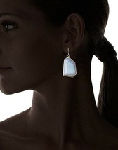 Janna Conner 18K Gold Plated Blue Lace Agate Shepherds Hook Earrings NWT image 2