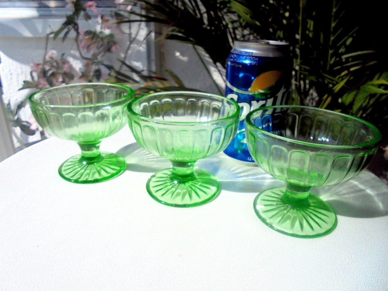 Set of 3 Vaseline Glass Green Sherbet Glasses Ribbon Pattern c 1930 Hazel Atlas