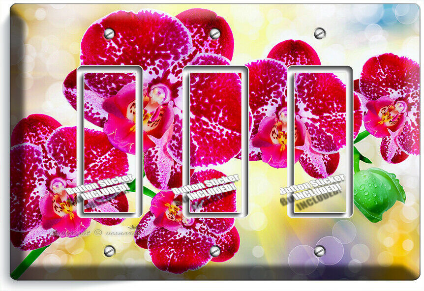 SPOTTED ORCHID FLOWERS 3 GFCI LIGHT SWITCH WALL PLATES FLORAL BEDROOM ROOM DECOR