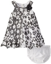 Bonnie Jean Baby Girl 3M-24M Flower Colorblock Crystal Pleat Chiffon Trapeze Dre