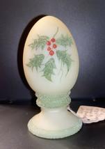 Fenton 1970s CUSTARD SATIN GLASS HOLLY & BERRY Hand Painted EGG Artist s... - $24.70