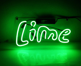 "Handmade 'Lime' Cocktail Art Light Banner Beer Bar Pub Decor Neon Sign 14""x9"" - $59.00"