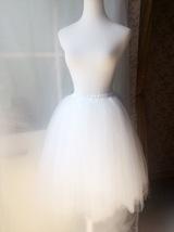WHITE TULLE SKIRT Elastic Waist Plus Size Midi Tulle Skirt White Wedding Skirts image 2