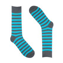 Striped Dress Socks for Men - Grey Baby Blue - Cotton - Size 8-13 (One P... - $9.50