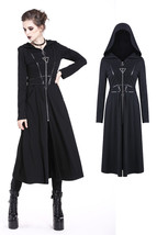 Long Black Gothic Punk Hooded Witch Jacket Pockets Triangle Zip Spring F... - $76.80