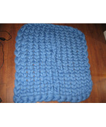 "US Baby Chunky Home Hand Knit Blanket Baby Blue 37""x 40"" Giant Knit Decor - $15.99"