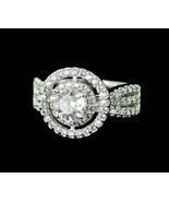 Vintage Sterling Silver Diamonique Cubic Zirconia CZ Halo Engagement Rin... - $59.38