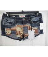 Women's Juniors Hot Kiss American Patchwork Shorts Blue Size 11 NEW - $24.74