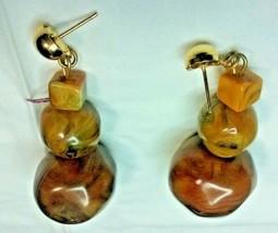 """Vintage Jewelry: 1 1/2"""" Plastic Brown Beaded Pierced Earrings 171202 - $7.99"""