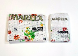 Vintage Martex Twin Size Floral Polka Dot Fitted Sheet & Pillowcases Lac... - $34.74