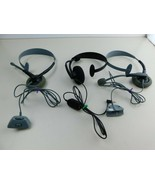 Lot of 3 Original Microsoft Xbox 360 Wired Headset -1 Has Volume+Mic Button - $12.73