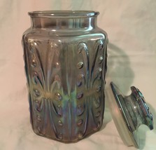 cookie jar carnival glass atterbury scroll - $46.00
