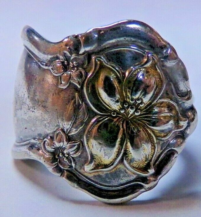 Primary image for Wm Rogers & Son AA Silverplate Orange Blossom Spoon Ring Sz 9 Gold Wash 10.9g