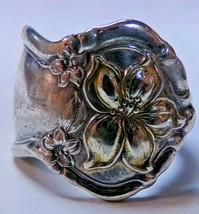 Wm Rogers & Son AA Silverplate Orange Blossom Spoon Ring Sz 9 Gold Wash ... - $29.99