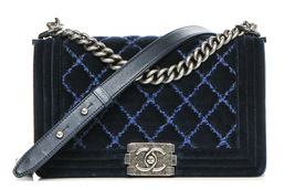 Chanel velvet quilted medium boy flap dark navy blue 00he thumb200
