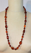 Faux Amber Root Beer Acrylic Brown Black Bead Beaded Necklace Vintage - $34.64