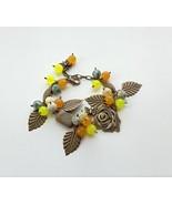 сhunky bracelet natural stones. сharm bracelet jasper, agate, bronze rose. - $26.00