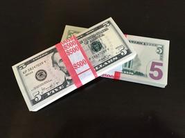 10.000 Prop Money Replica 5s All Full Print For Movie Video Films Etc. 20 Stacks - $320.99