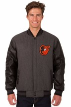 Baltimore Orioles Wool & Leather Reversible Jacket with Embroidered Logos Gray - $269.99