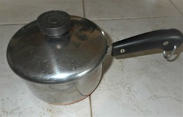 Vintage REVERE WARE 1801, 1 1/2 Quart Sauce Pan & Lid Stainless & Copper, USA - $21.99
