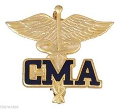 CMA CERTIFIED MEDICAL ASSISTANT UNIFORM COLLAR HEALTH FIRE BADGE PIN - $22.55