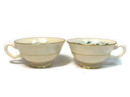 Vintage Lot of 2 Lenox Fine China Blue Ridge Teacup Gold Trim  - $19.79