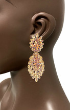 """3"""" Long Statement Russian Gold Tone Clip On Earrings Peach Rhinestone Pageant - $18.95"""