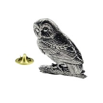 Tawny Owl Bird English Pewter , lapel pin/ tie tac etc, comes in gift box
