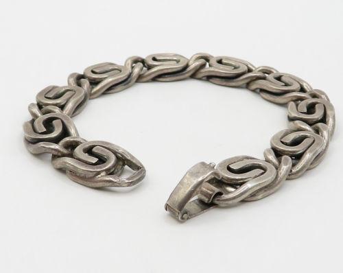 "DANECRAFT 925 Sterling Silver - ""S"" Swirl Design Pattern Bracelet - B1872"