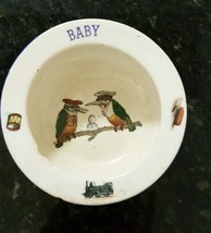 Vintage Baby Bowl 2 Kingfishers on Limb in Bowl, Baby, Drum, Train, Top ... - $9.99