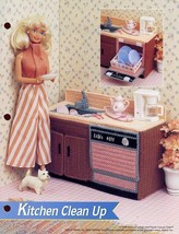 Kitchen Clean Up Sink Dishwasher for Barbie Dolls Plastic Canvas PATTERN... - $7.17