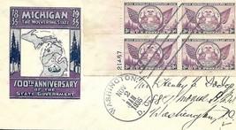 100th Anniversary of Michigan FDC Ioor Cachet Scott#775 Plate Block #21467 - $9.90