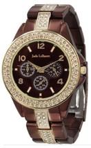 Womens Chocolate Brown Watch Large Face Rhinestone Accent Bracelet Jade ... - $32.79