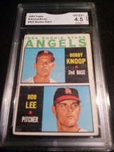1964 Topps Bobby Knoop Bob Lee GMA Graded 4.5 VG-EX+ Angels Rookie Stars 502 - $7.75