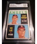 1964 Topps Bobby Knoop Bob Lee GMA Graded 4.5 VG-EX+ Angels Rookie Stars... - $9.99